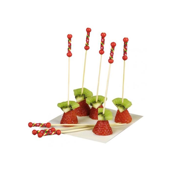 Stecchini in legno bamboo con due perle rosse cm 12