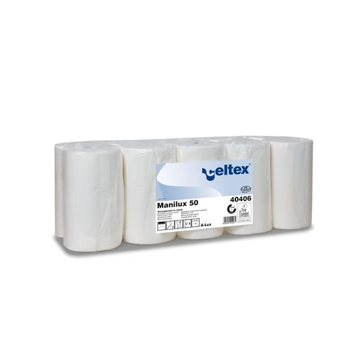 Rotolo asciugamani Manilux in cellulosa bianca
