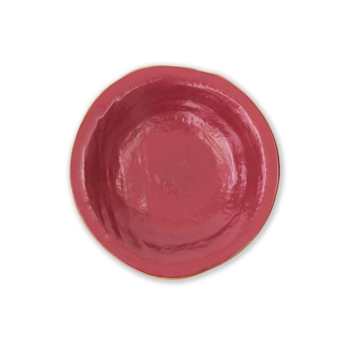 Piatto fondo Mediterraneo in ceramica rosso ciliegia cm 24