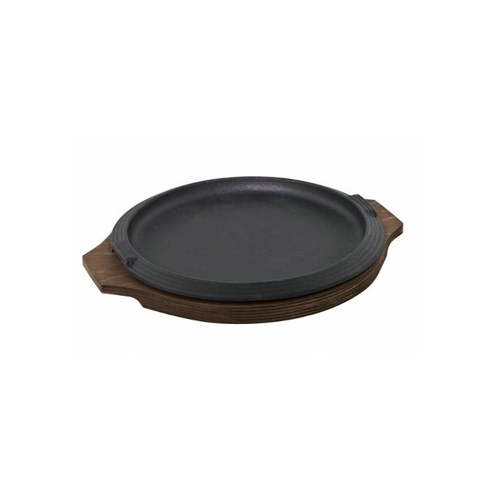 Piatto rotondo in ghisa con vassoio in legno cm 31