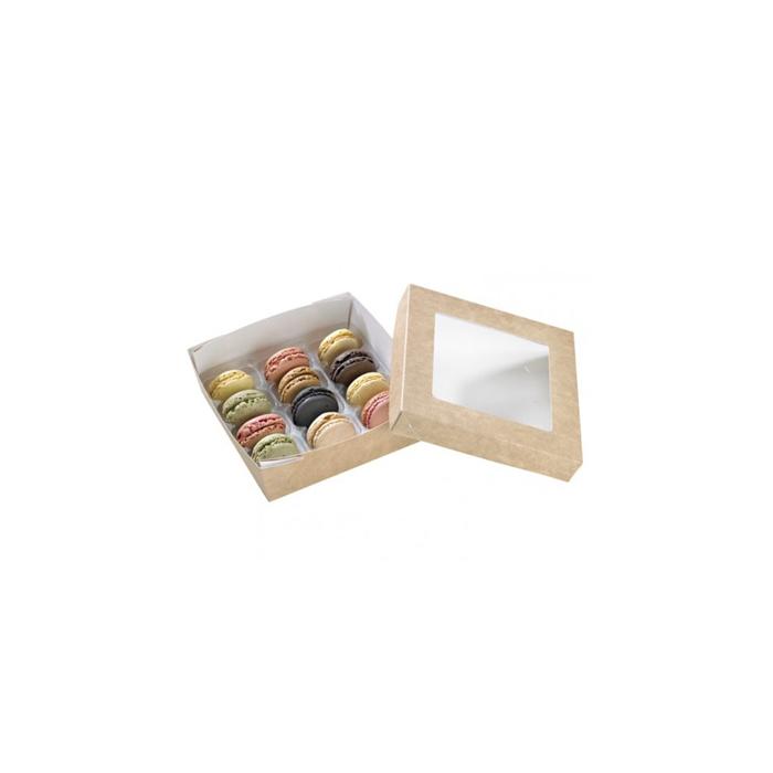 Scatola per alimenti monouso in cartone marrone con coperchio a finestra cm 15,5x15,5x5