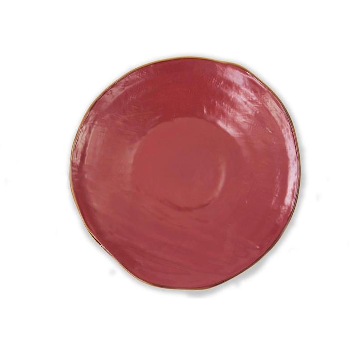 Piatto piano Mediterrano in ceramica rosso ciliegia cm 27,5