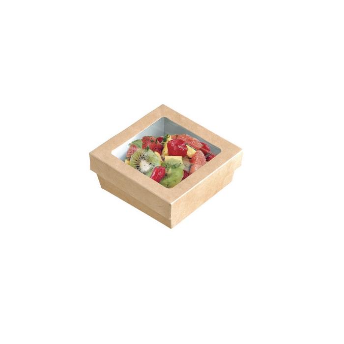 Scatola per alimenti monouso in cartone marrone con coperchio a finestra cm 11,5x11,5x4,5