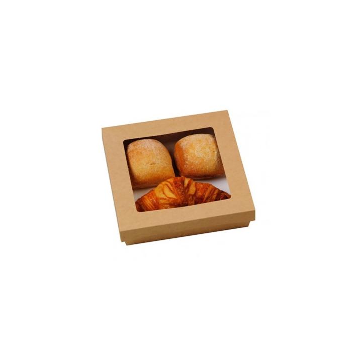 Scatola per alimenti monouso in cartone marrone con coperchio a finestra cm 20,5 x 20,5