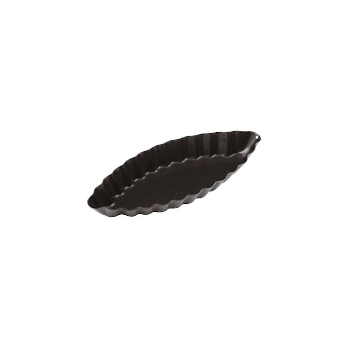Tartelletta barchetta festonata in acciaio inox antiaderente nero cm 12