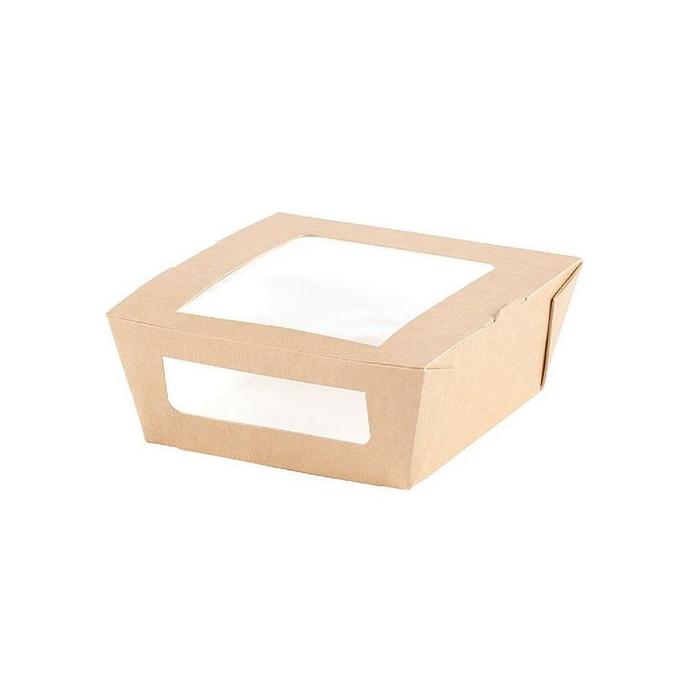 Contenitori per asporto con finestra Duni in carta marrone cm 12x11x4,5