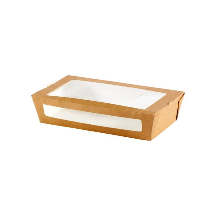 Contenitori per asporto con finestra Duni in carta marrone cm 20x12x4,5
