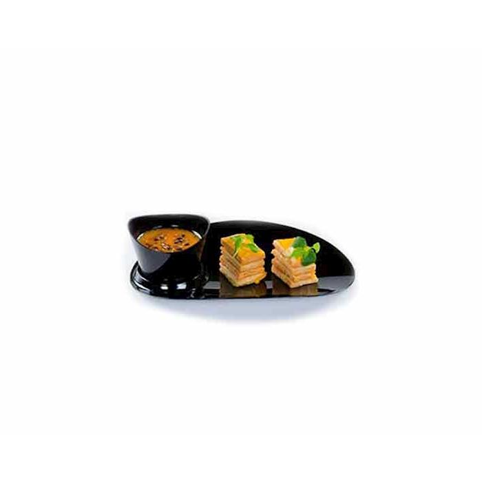 Piattini Sphera ovali in plastica nera cm 10x8