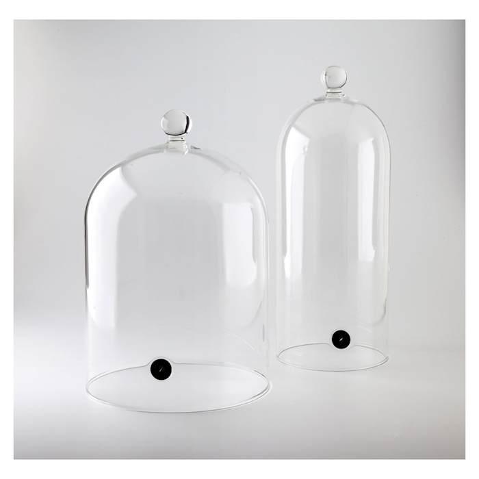 Campana cocktail con valvola per affumicatore in vetro cm 19