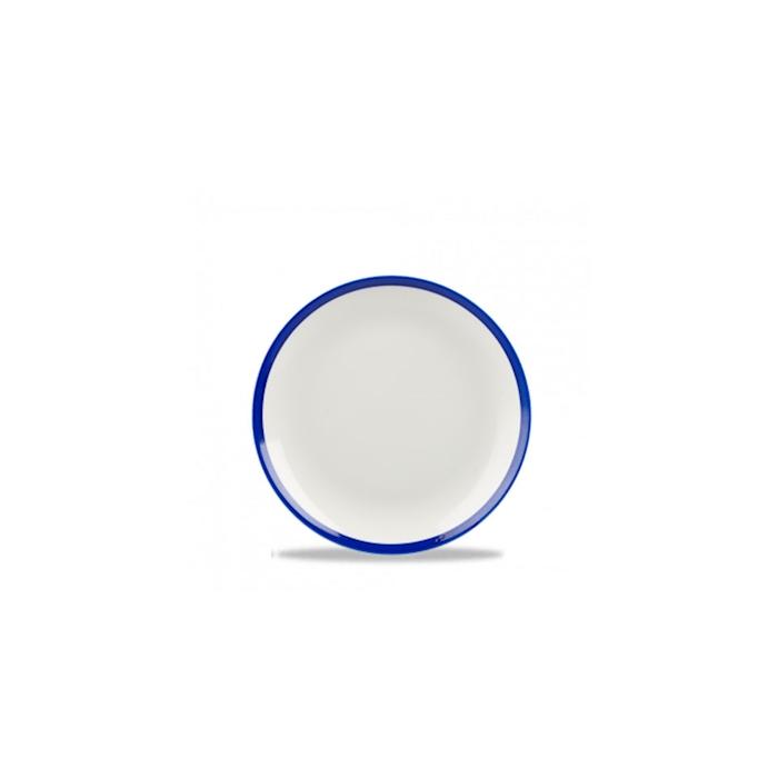 Piatto piano retro blue Churchill in ceramica vetrificata bianca cm 16,5