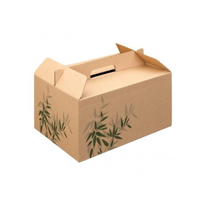 Scatola box per asporto in cartone marrone con decoro cm 28x20x15