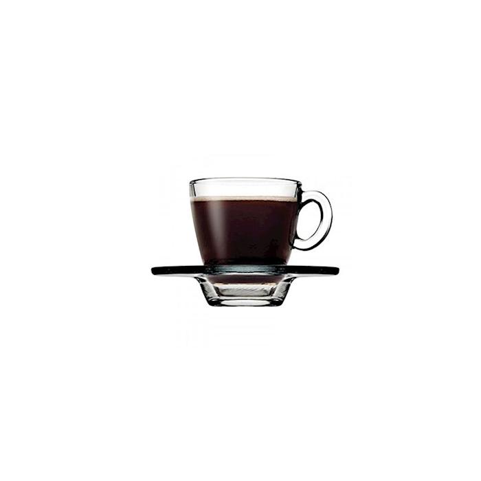 Tazza caffè Aqua con piatto in vetro trasparente cl 7,5
