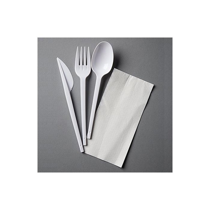 Tris posateGold Plast bianche in polistirene con tovagliolo bianco