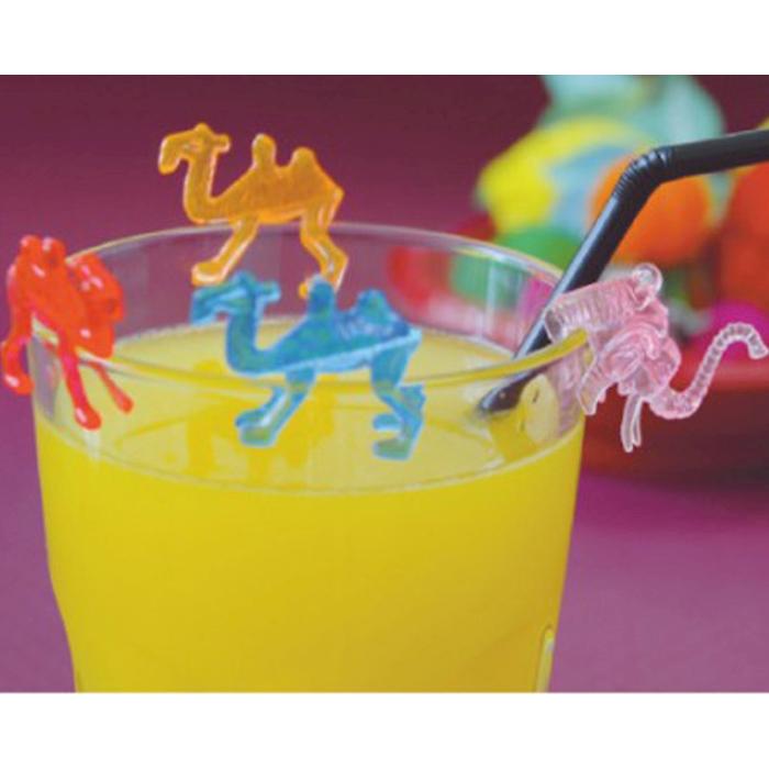 Decorabicchieri zoo picks in plastica di colori assortiti