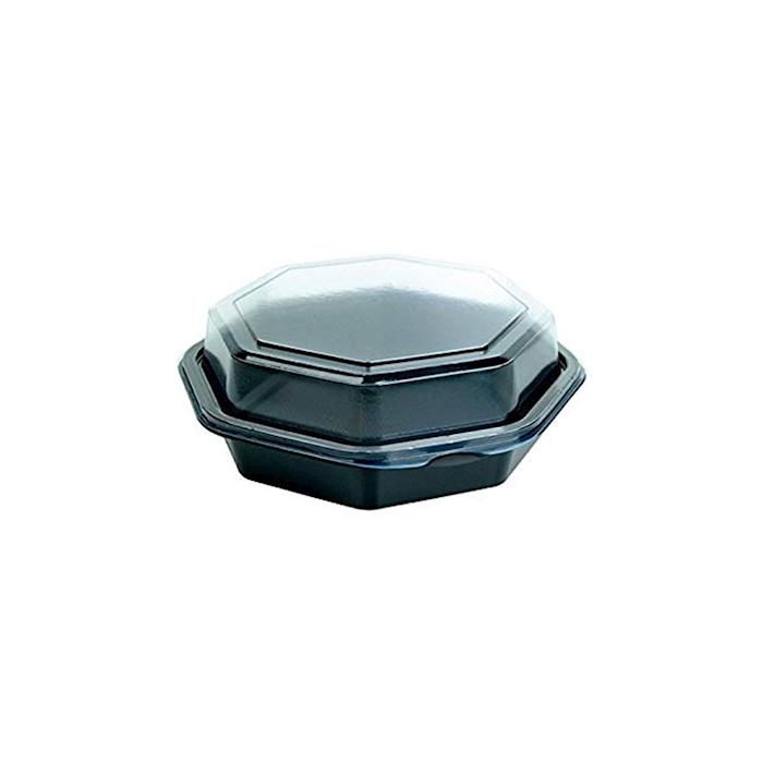 Contenitore monouso Octaview Duni in ps nero con coperchio trasparente cm 16x16x6