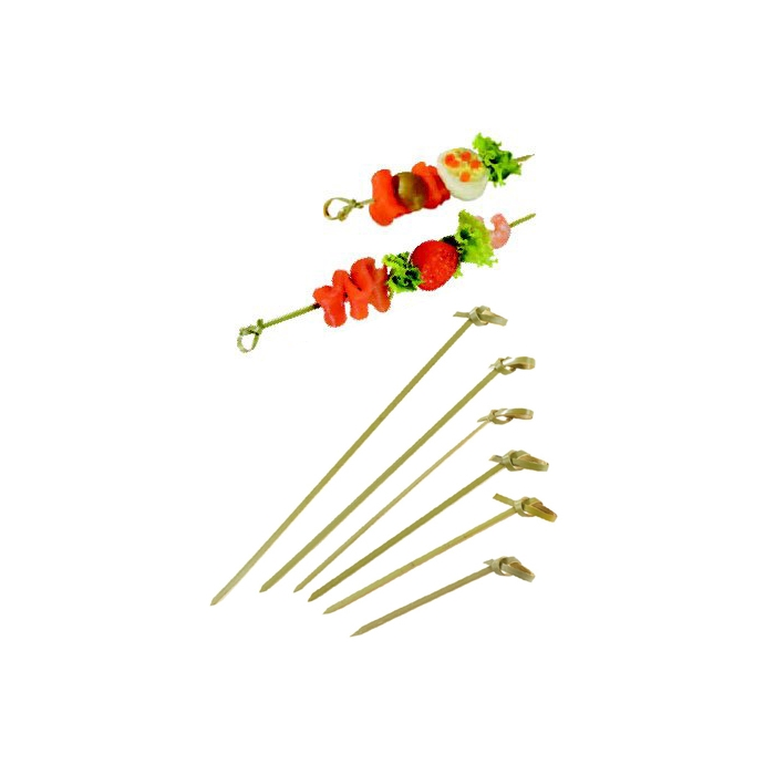 Spiedini monouso in bamboo con ricciolo cm 7,5