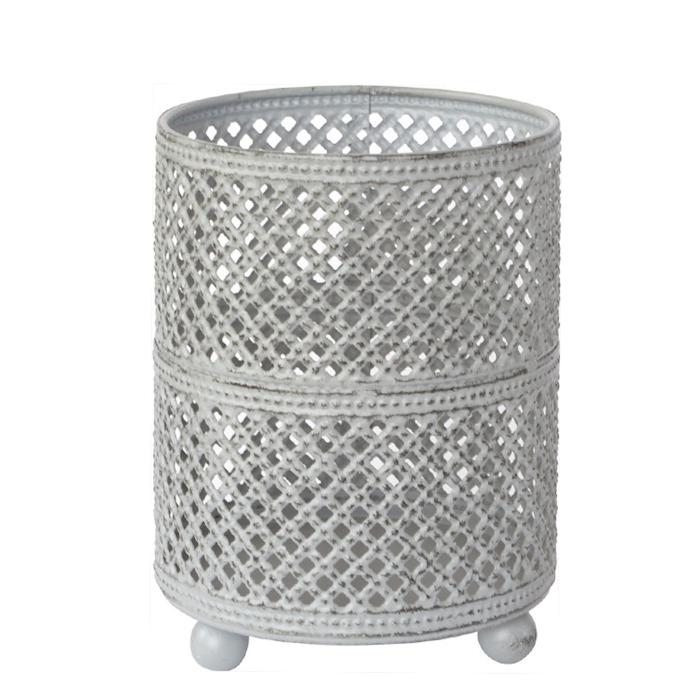 Portacandela Stella in metallo grigio cm 11x8