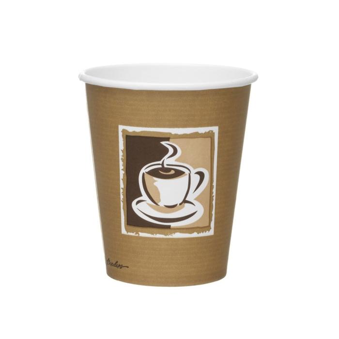 Bicchiere cappuccino con decoro in carta marrone cl 25