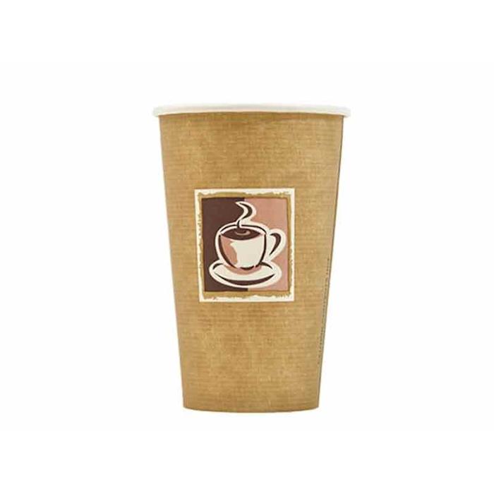 Bicchiere Cappuccino Con Decoro In Carta Marrone Cl 45