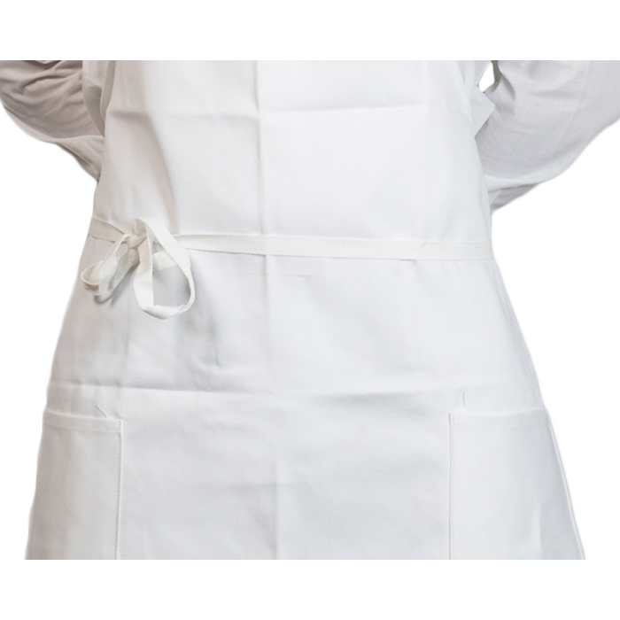 Grembiule con pettorina e tasche spigato bianco cm 90x75