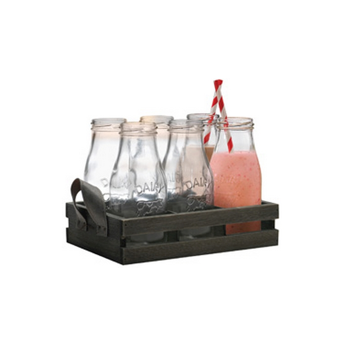Bottiglie Country Milk con vassoio e cannucce cl 31