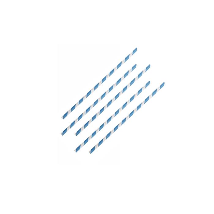 Cannucce biodegradabili con decoro a spirale in carta bianca e blu cm 20x0,6