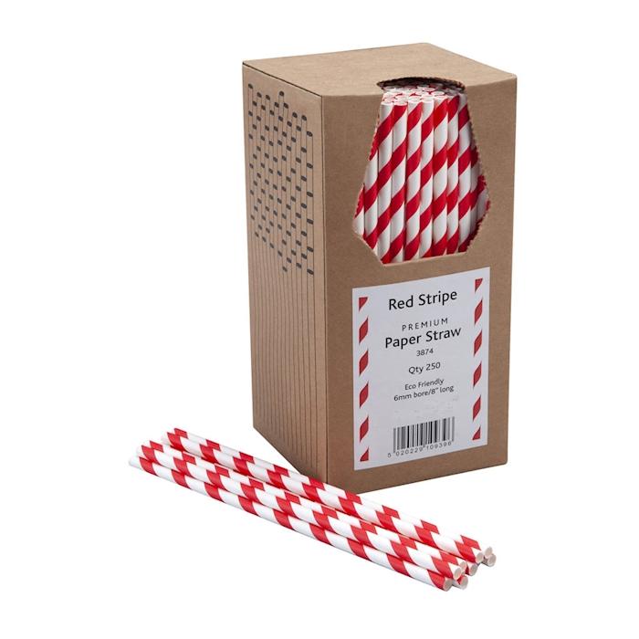 Cannucce biodegradabili con decoro a spirale in carta bianca e rossa cm 20x0,6
