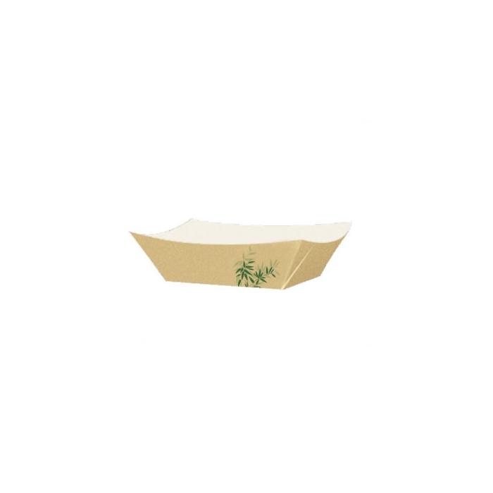Barchetta con decoro feel green in carta marrone cm 22