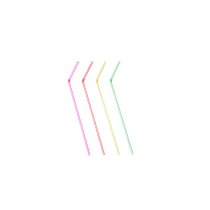 Cannucce Drinking Straws pieghevoli in plastica cm 24 colori fluorescenti