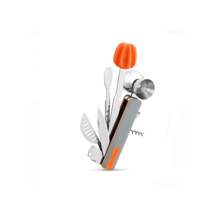Kit accessori cocktail arancione in acciaio inox