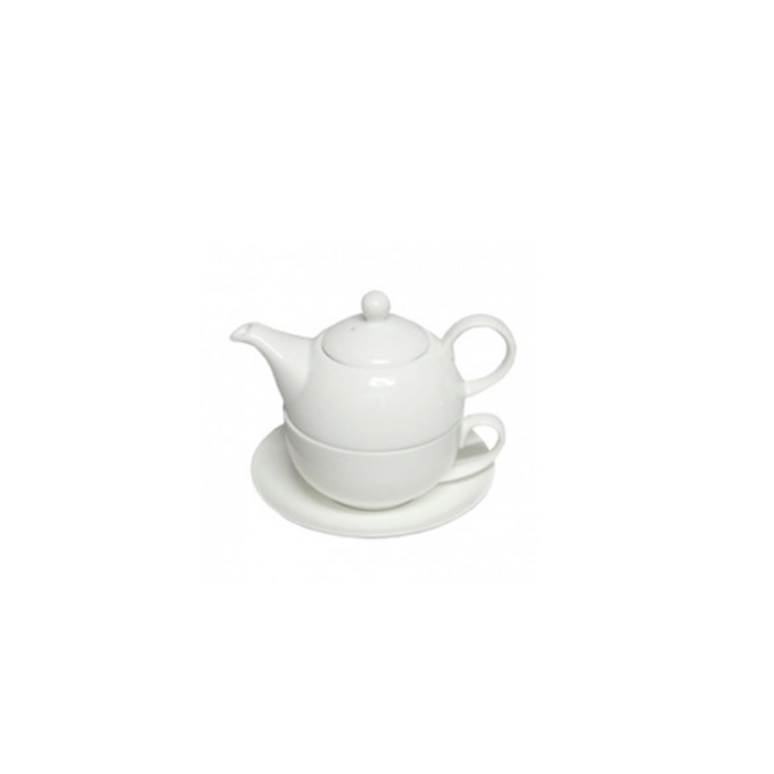 Teiera Tea for One con tazza e piatto in porcellana bianca cl 45