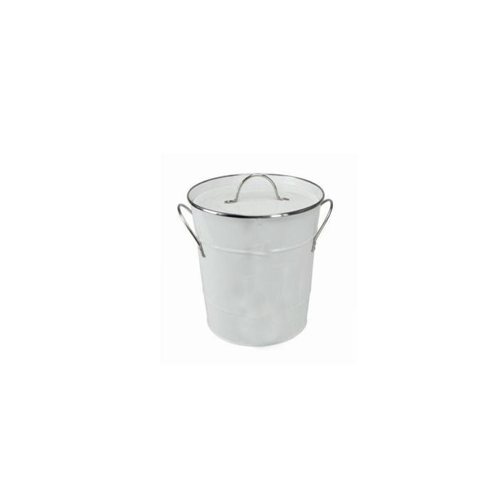 Secchiello ghiaccio con coperchio in acciaio inox bianco