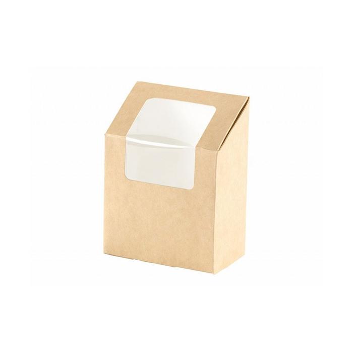 Contenitore sandwich con finestra Duni in carta marrone cm 9x5x13