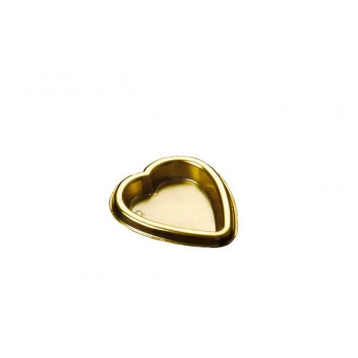 Piattini cuore Gold Plast in pet oro cm 5,5x5