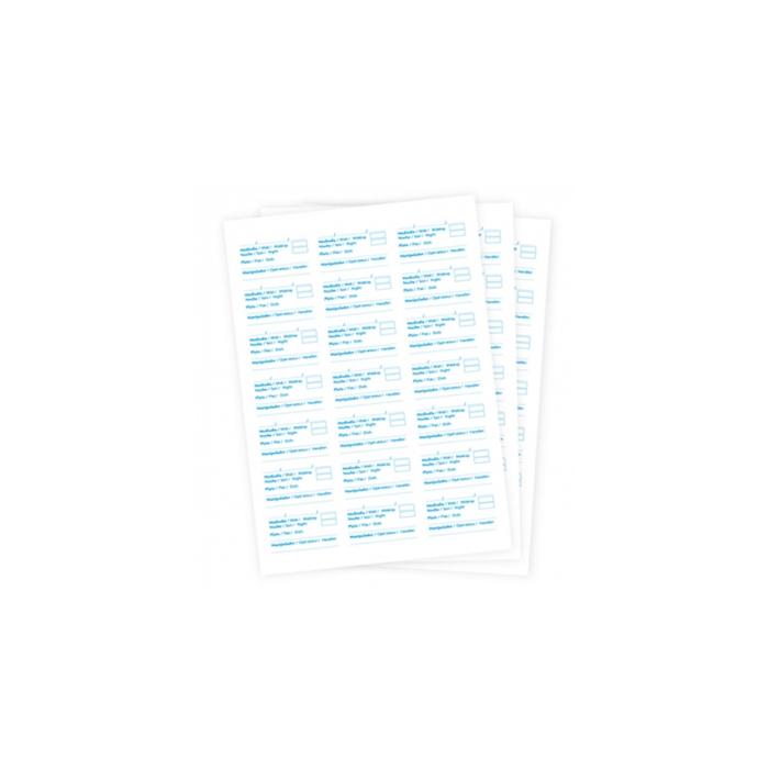 Etichette in fogli per contenitori alimentari in carta bianca