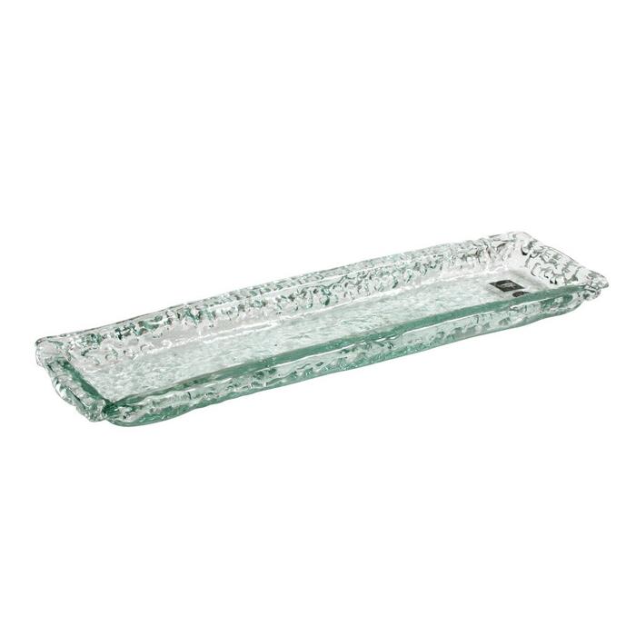 Vassoio Inca rettangolare in vetro cm 31
