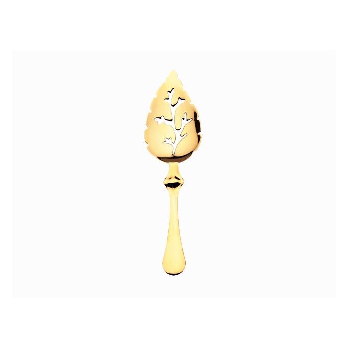 Cucchiaino assenzio foglia in acciaio inox dorato cm 17,5