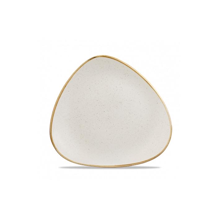 Piatto piano triangolare Stonecast Churchill in ceramica vetrificata bianca cm 22,9