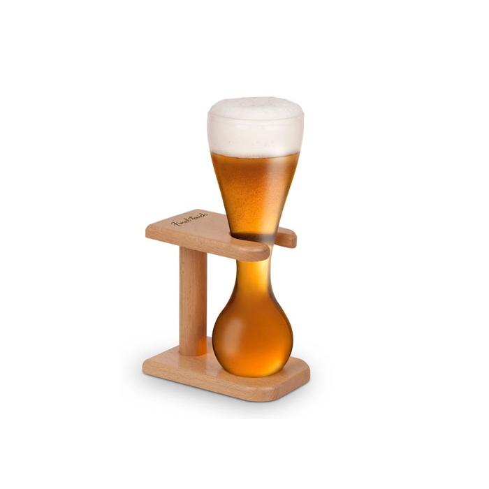 Bicchiere birra Quarter Yard con supporto di legno cm 22