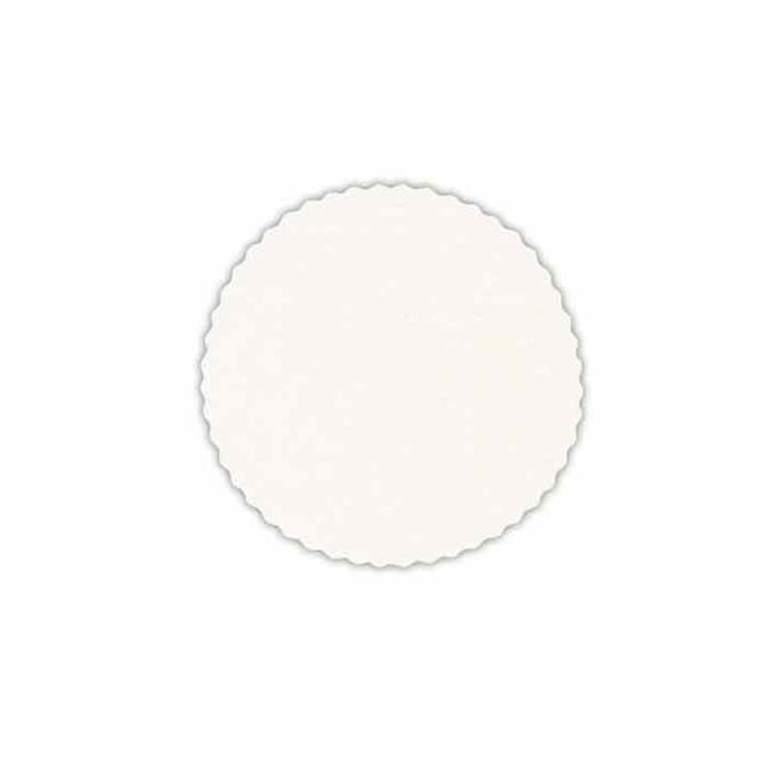 Sottobicchieri tondi smerlati in carta bianchi cm 19