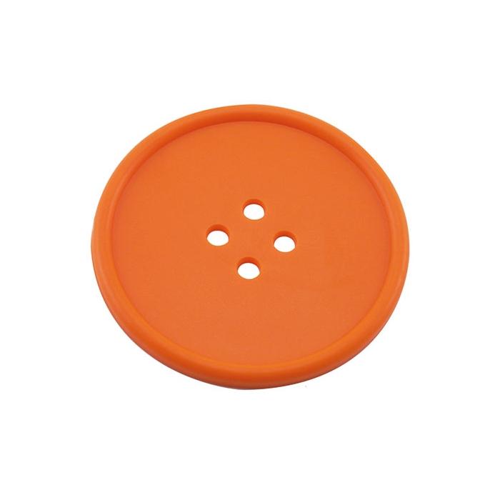 Sottobicchieri bottone in gomma arancione cm 10