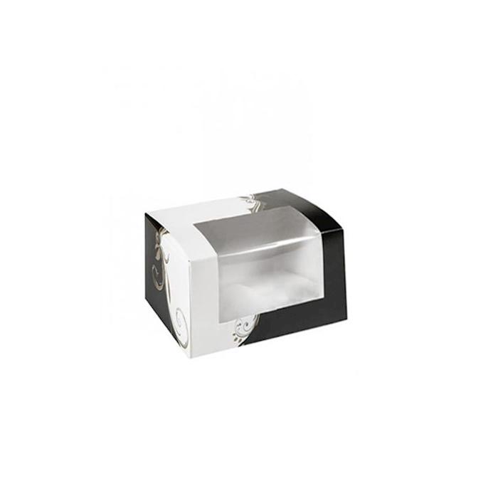 Contenitore con finestra Elegance in carta nera e bianca cm 11x13x8