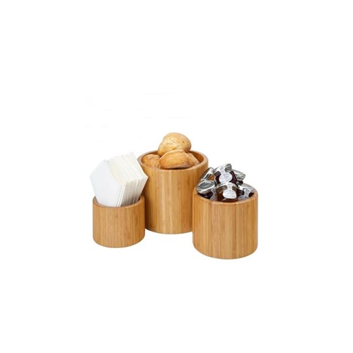 Contenitore e supporto per vaso ermetico in legno di acacia cm 21x12