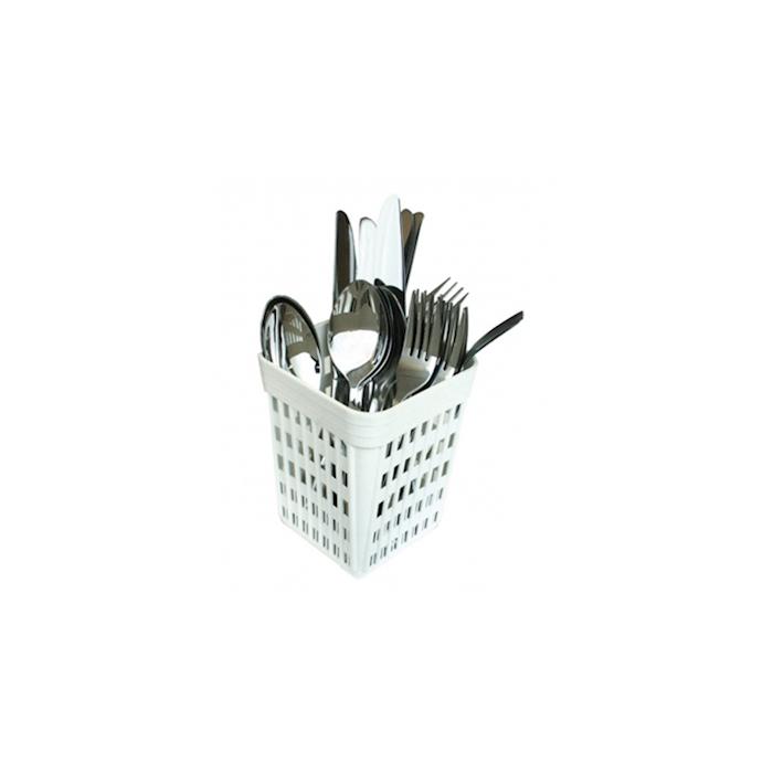 Porta posate in polipropilene bianco cm 10,7x10,7x14