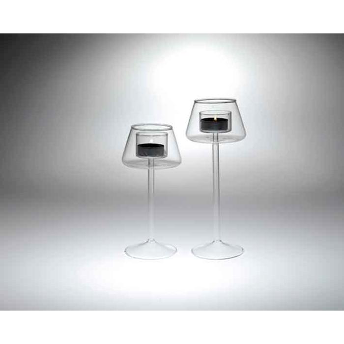 Portacandele tealight a stelo lungo in vetro cm 24,5