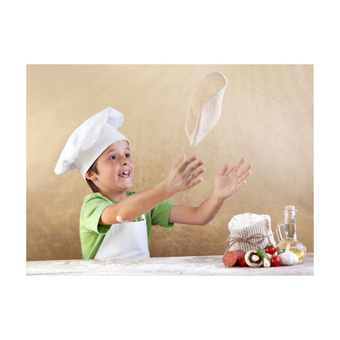 Grembiule bambino spigato 100% cotone bianco cm 60x75