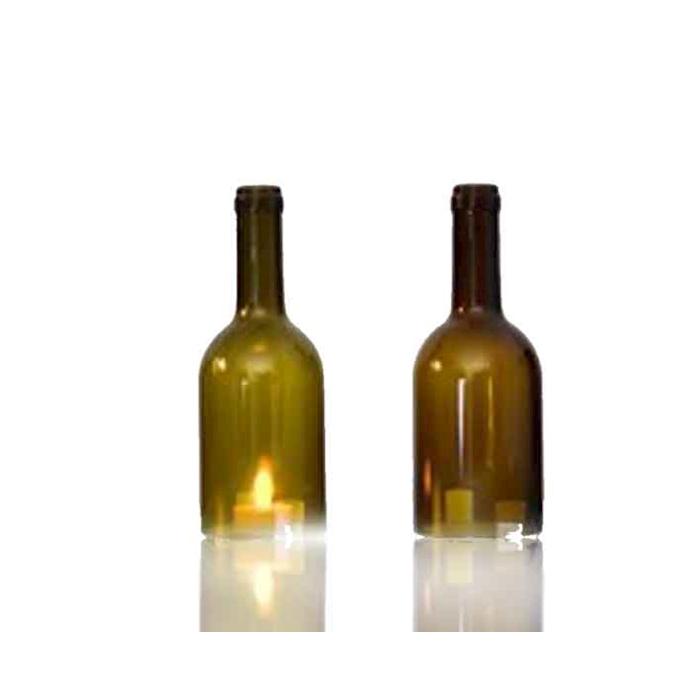 Portacandele Bottiglia Bordolese in vetro verde cm 20x7,5