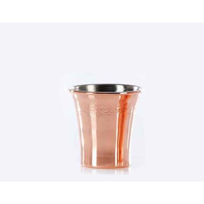 Bicchiere Mint Julep in rame martellato con decoro cl 34