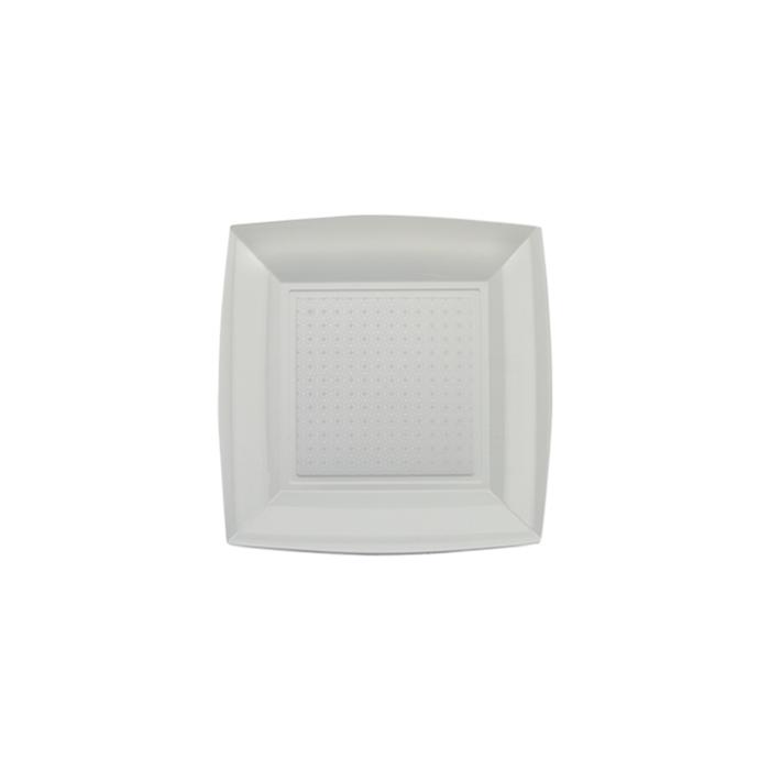 Piatto dessert in polistirene argento cm 18x18