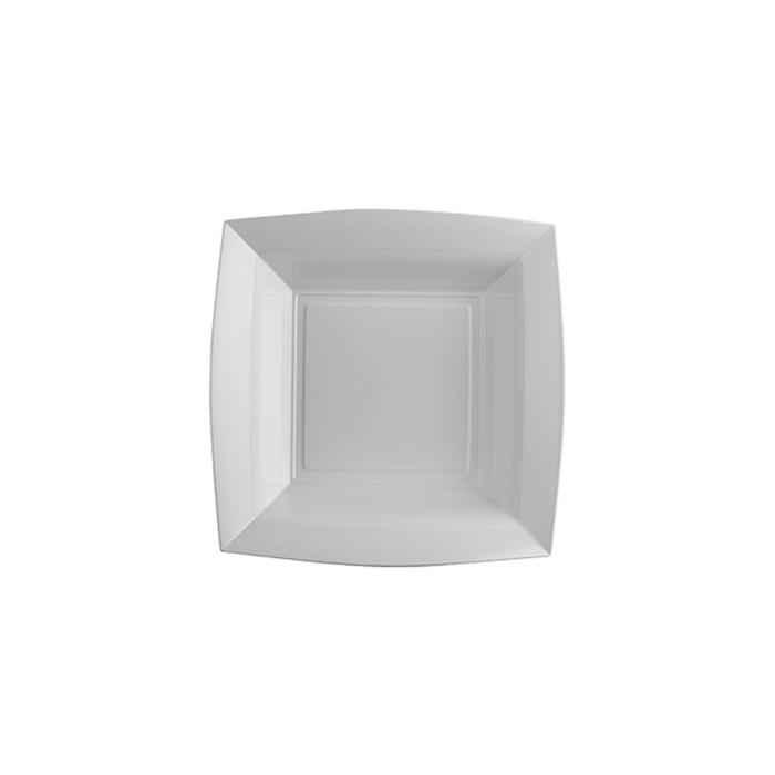 Piatto fondo in polistirene argento cm 18x18
